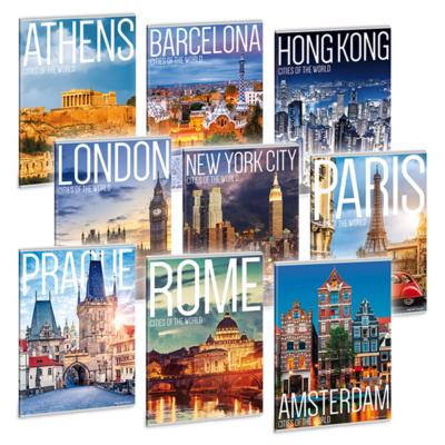 Füzet ARS UNA A/4 40 lapos Extra kapcsos vonalas Cities Of The World