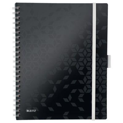 Spirálfüzet LEITZ Wow Active A/4 80 lapos vonalas fekete