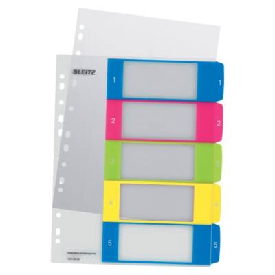 Regiszter LEITZ Wow műanyag nyomtatható extra széles 1-5