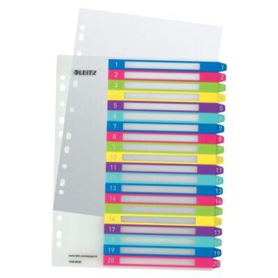 Regiszter LEITZ Wow műanyag nyomtatható extra széles 1-20