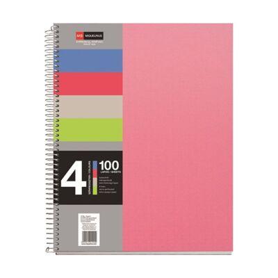 Spirálfüzet MIQUELRIUS 4 Notebook A/5 100 lapos perforált lyukasztott vonalas