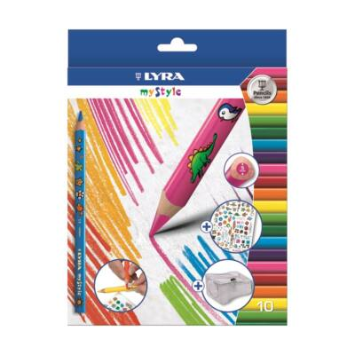 Színes ceruza LYRA My Style háromszögletű vastag matricás 12 db/készlet