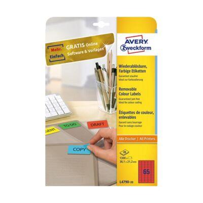 Etikett AVERY L4790-20 38,1x21,2mm piros 1300 címke/doboz 20 ív/doboz