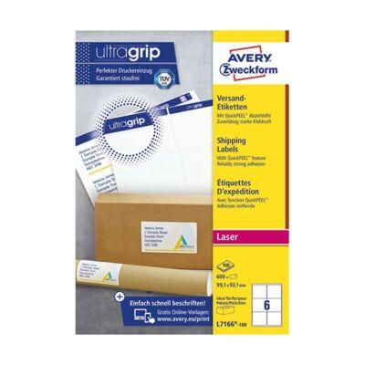 Etikett AVERY L7166-100 99,1x93,1 mm fehér 600 címke/doboz 100 ív/doboz