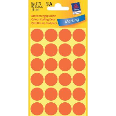 Etikett AVERY 3172 jelölőpont 18mm neon piros 96 címke/doboz 4 ív/doboz