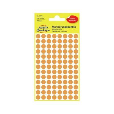 Etikett AVERY 3178 öntapadó jelölőpont neon sárga 8mm 416 jelölőpont/csomag