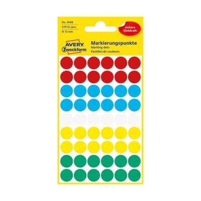Etikett AVERY 3088 jelölőcimke 12mm 5 vegyes szín 270 címke/doboz 5 ív/doboz
