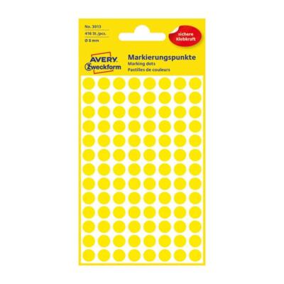 Etikett AVERY 3013 jelölőpont 8mm sárga 416 db/csomag