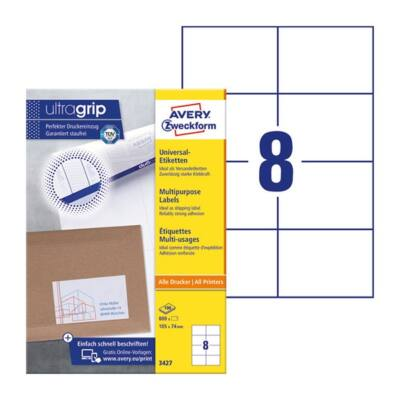 Etikett AVERY 3427 105x74mm univerzális 800 címke/doboz 100 ív/doboz