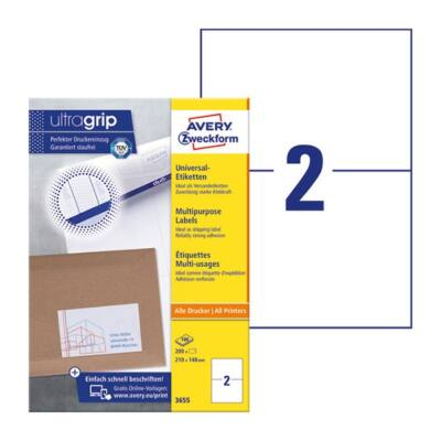 Etikett AVERY 3655 210x148mm univerzális 200 címke/doboz 100 ív/doboz