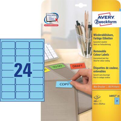 Etikett AVERY L6032-20 63,5x33,9mm univerzális kék 480 címke/doboz 20 ív/doboz