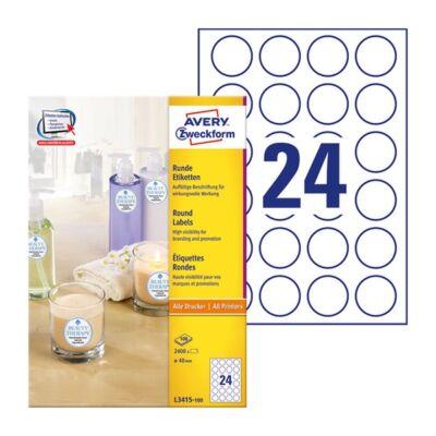 Etikett AVERY L3415-100 kör alakú 40 mm átmérő 2400 címke/doboz 100 ív/doboz