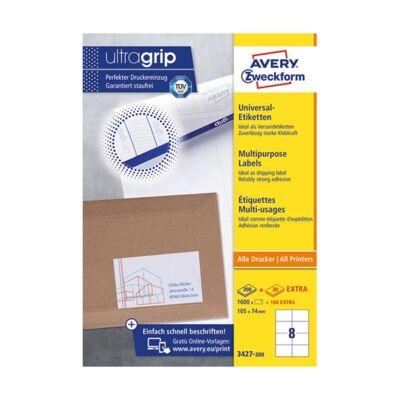 Etikett AVERY 3627-200 105x74 mm fehér univerzális 1760 címke/doboz 200+20 ív/doboz