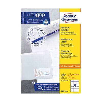 Etikett AVERY 3652-200 70x42,3 mm fehér univerzális 4620 címke/doboz 200+20 ív/doboz