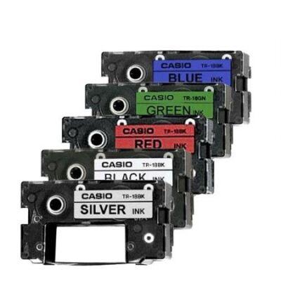 Feliratozó szalag CASIO XR-18GN1 18mmx8m zöldön fekete