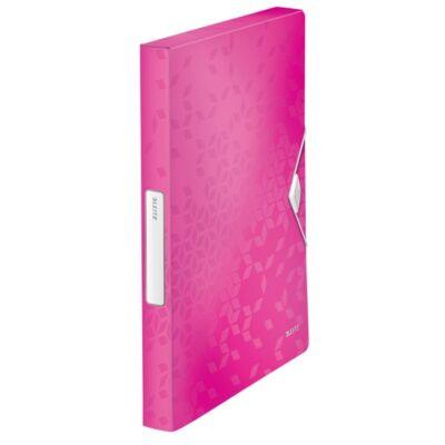 Gumis mappa LEITZ Wow Jumbo A/4 műanyag 30mm rózsaszín